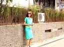 婚纱裙撑头纱三件套:芙兰奇 2014夏季时尚 套装裙女三件套短袖 显瘦 套装女