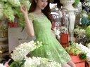 修身婚纱裙:2014夏装 连衣裙女装  甜美欧根纱刺绣花短袖雪纺蓬蓬裙