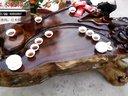 红木仙作鸡翅木根雕茶几 树根根雕茶桌 根雕大板  高清