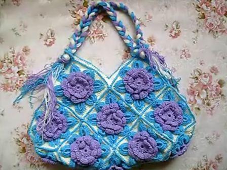 手工钩编织花朵包包视频教程(十七花包)--当当编织