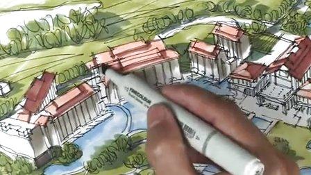 城市规划鸟瞰图马克笔上色视频