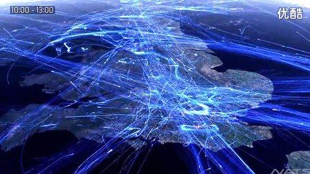 2分钟看完欧洲一天的航班轨迹