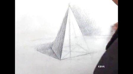 素描几何 体 四棱锥 的画法 素描 入门图片