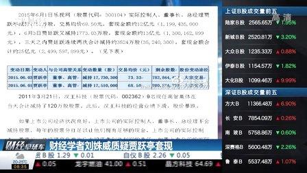 财经学者刘姝威质疑贾跃亭套现 财经早班车 150618 (1366播放)