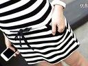 婚紗裙 顯瘦:2014夏裝 顯瘦條紋連衣裙圓領短袖包臀裙女潮