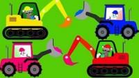 寶寶學習工程車挖掘機:裝載機自卸車和叉車