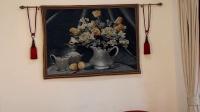 上雅家藝 歐式純棉掛毯 比利時藝術壁畫 藍色郁金香